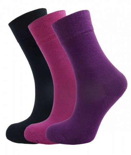 Ladies Bamboo socks - High Performance (3 multi colour pack) - Luxurious soft & antibacterial bamboo (4-7)