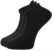 Ladies/Men's Unisex Bamboo Trainer ankle socks - Sports (3 pack) Black 4-7 - Unique Double Sole - soft & antibacterial bamboo