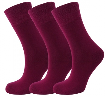 Bamboo socks - Unique Double Sole (3 x BURGUNDY pack) - Luxurious soft & antibacterial bamboo (4-7) *New