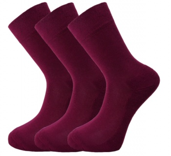 Bamboo socks - Unique Double Sole (3 x BURGUNDY pack) - luxurious soft & antibacterial bamboo (8-11)