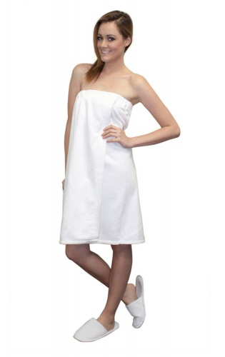 bamboo ladies luxurious shower/bath towel wrap (with velcro) White - Made in UK