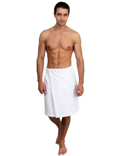bamboo men's luxurious shower/bath towel wrap (with velcro) - natural (Ivory) - Made in UK