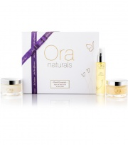 ORA Natural & Organic Travel Essentials (Pure Argan Oil, Argan Face Cream & Body Scrub revive) - presentation gift box