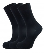 Bamboo socks - Unique Double Sole (3 x BLACK pack) - luxurious soft & antibacterial bamboo (4-7)