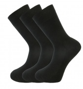Bamboo socks - Unique Double Sole (3 x BLACK pack) - luxurious soft & antibacterial bamboo (12-14)