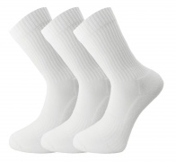 Men's/Ladies Unisex Bamboo Sport Crew socks - (3 pack - ZakBran range) white - Unique Double Sole - soft & antibacterial (8-11)